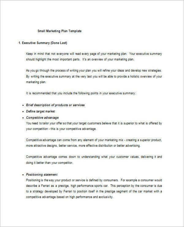 simple marketing plan template for small business - 8 small business marketing plan templates doc pdf