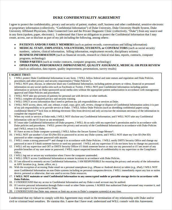 social media confidentiality agreement