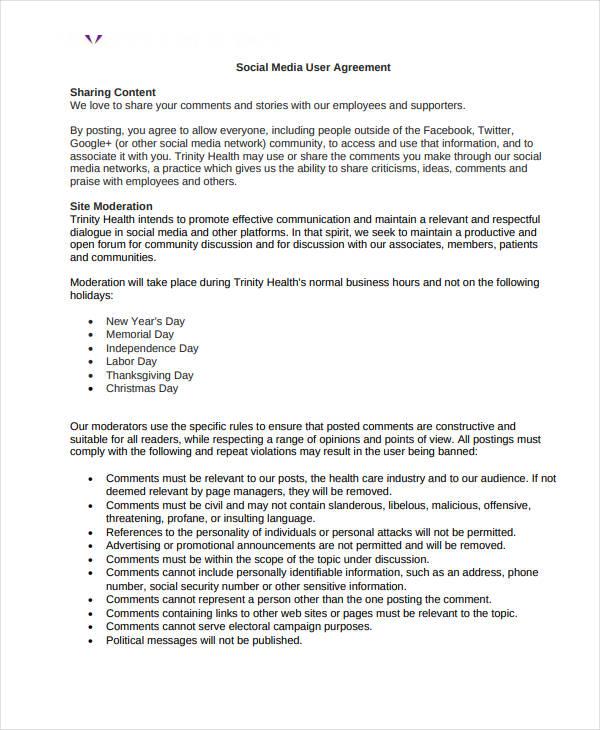 social media user confidentiality agreement