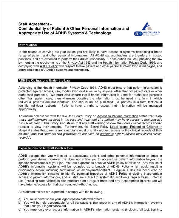 staff confidentiality agreement example