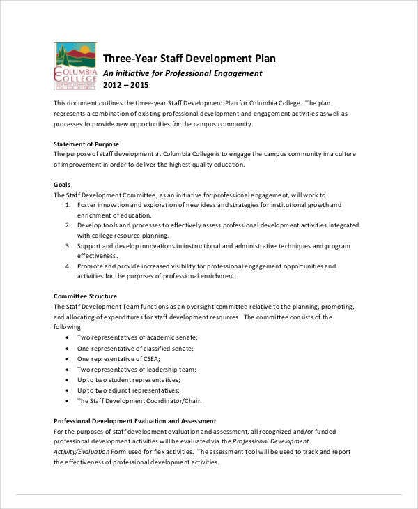 staff development plan 3 year outline
