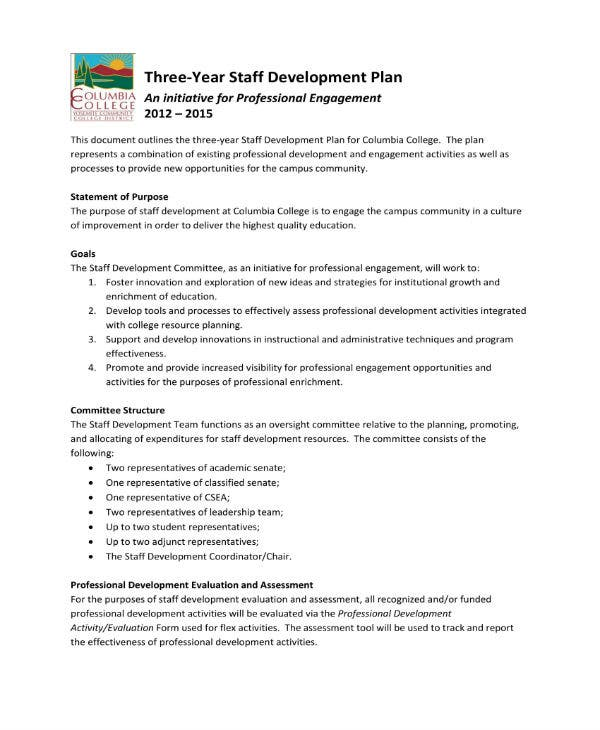 staff development plan outline 1