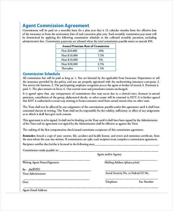 standard agent commission agreement