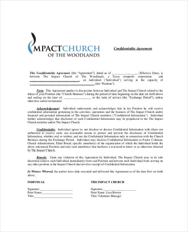 standard church confidentiality agreement
