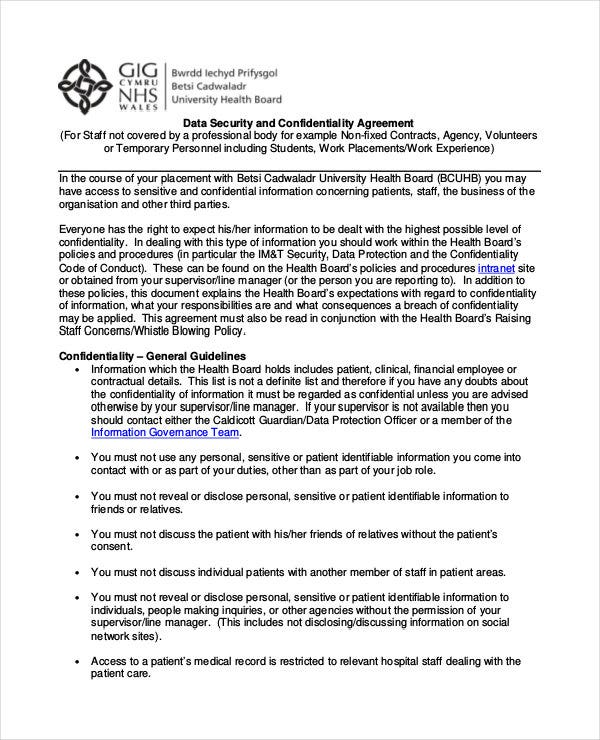 standard data confidentiality agreement