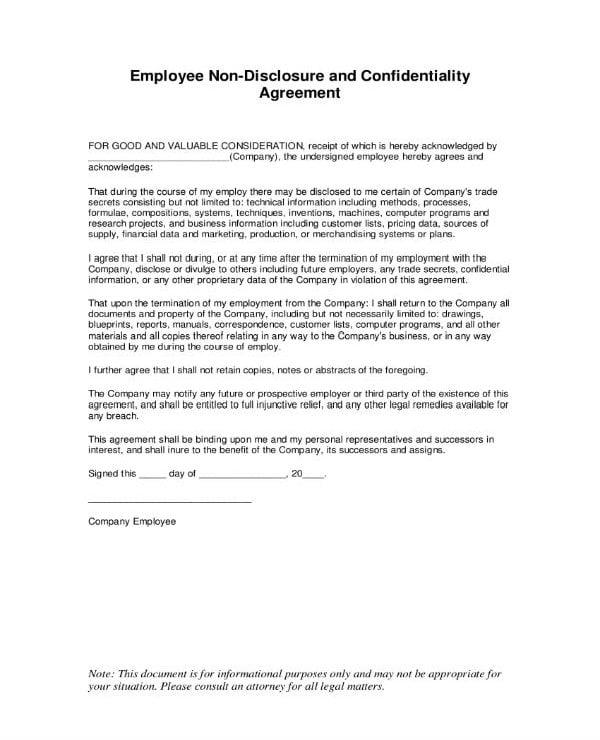 standard employee confidentiality agreement