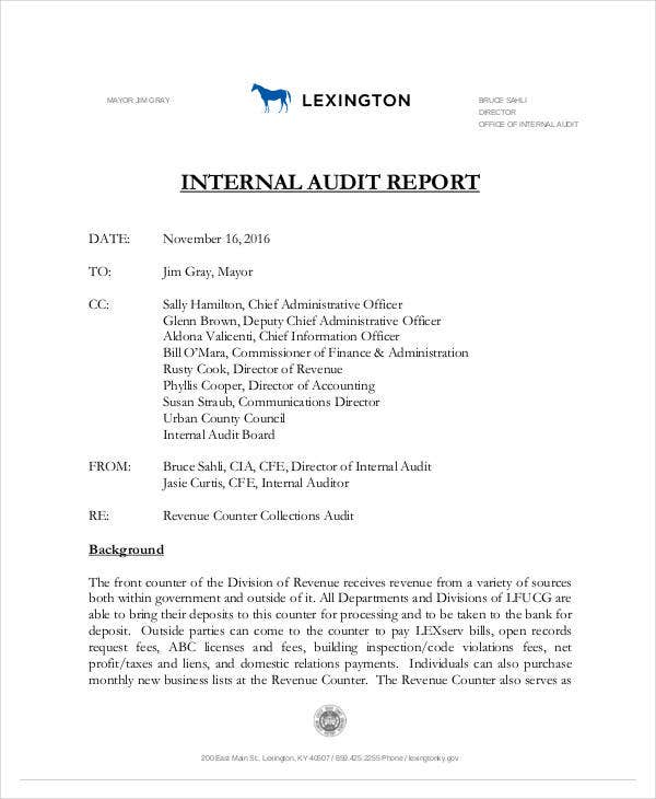 standard internal audit report