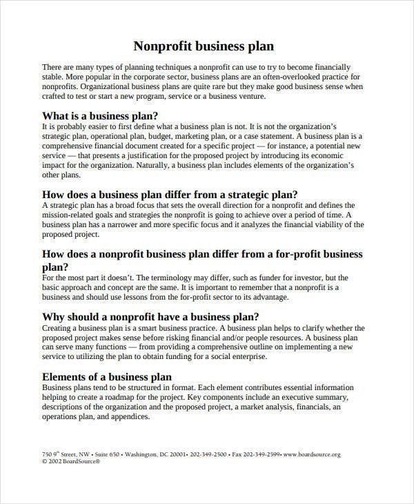 standard nonprofit business plan