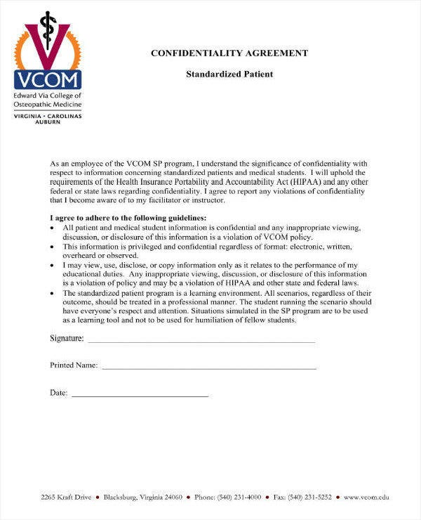 standard patient confidentiality agreement