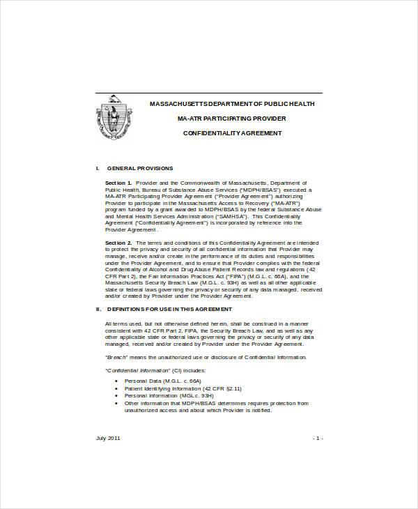 standard social media confidentiality agreement