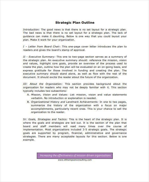 standard two page strategic plan