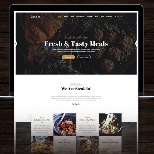 steak in restaurant management website template