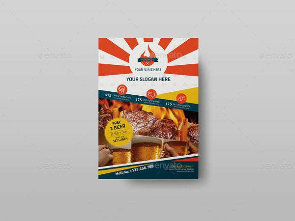 steakhouse bbq restaurant flyer