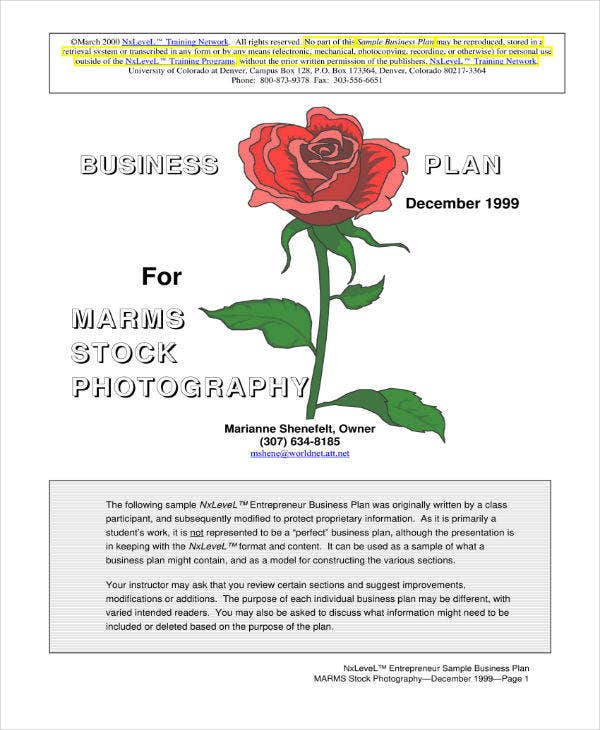 Stock Photography Business Plan