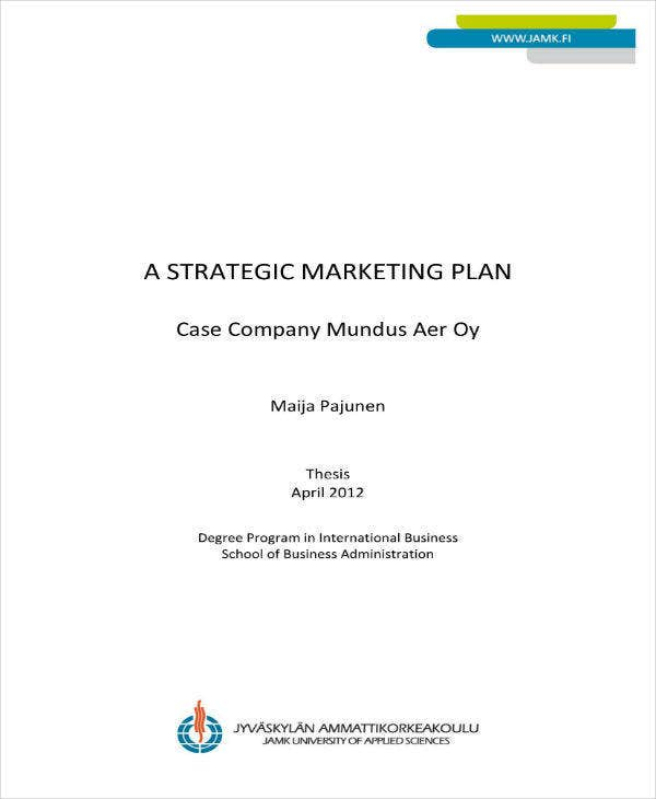 strategic marketing plan sample