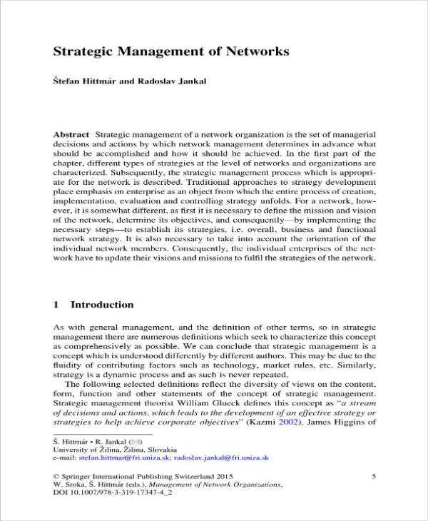 Strategic Plan or Management of Networks