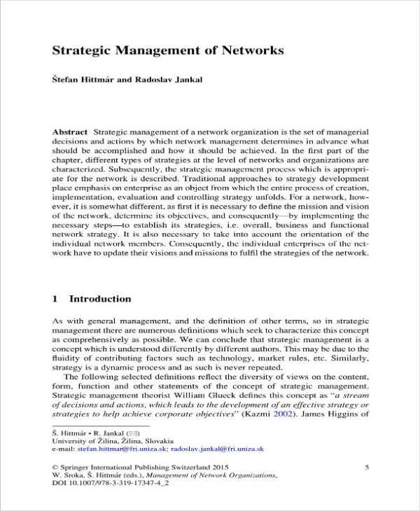 strategic plan or management of networks