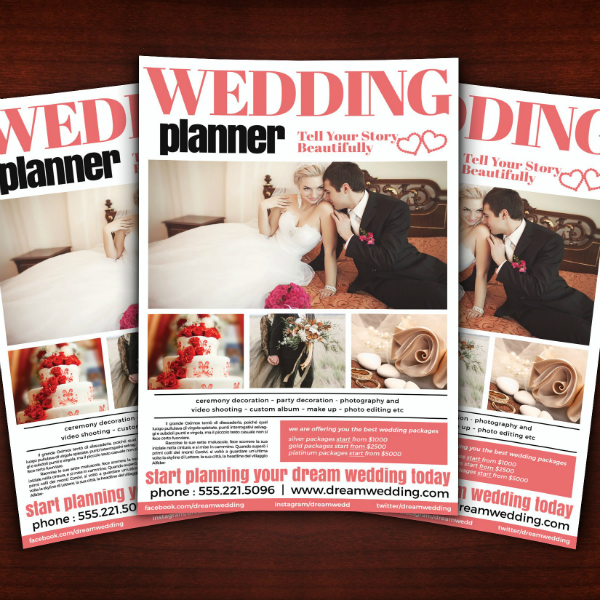 structured wedding planner flyer template