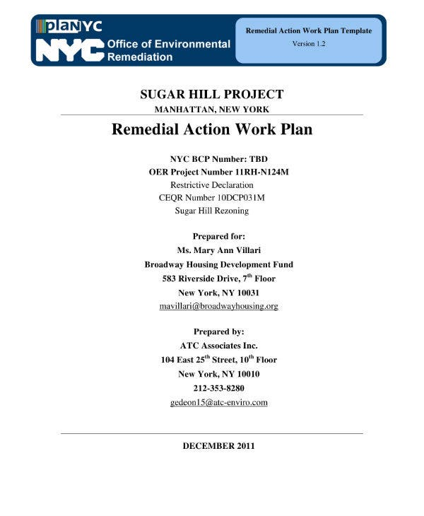 sugar hill project remedial action work plan sample