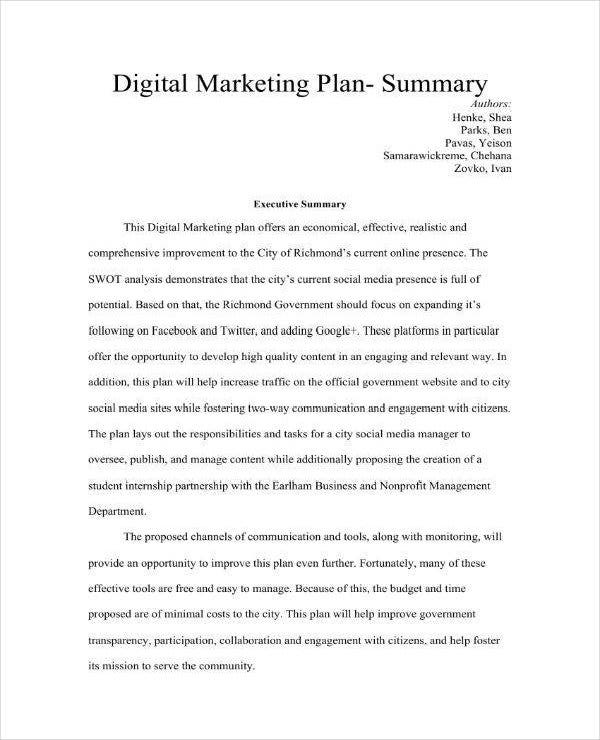 summary of digital marketing business plan