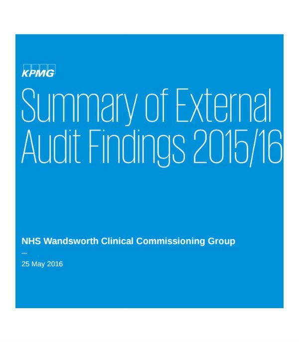 summary of external audit report template