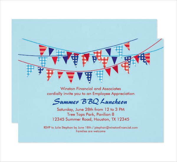 Summer BBQ Lunch Party Invitation Template