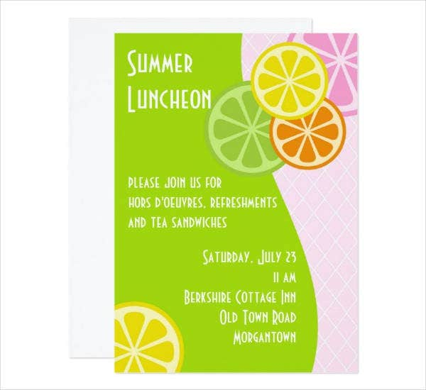 Summer Luncheon Party Invitation Sample