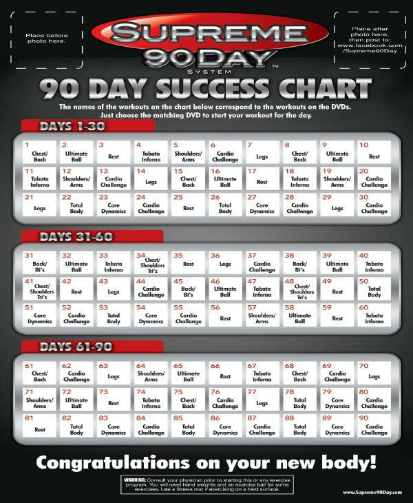 supreme 90 day system 90 day workout schedule 1