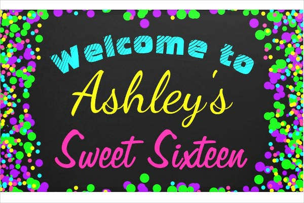 Sweet 16 Birthday Party Banner Sample