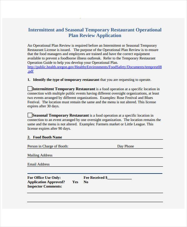 temporary restaurant operational plan