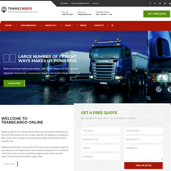 TransCargo Logistics Services Website Template