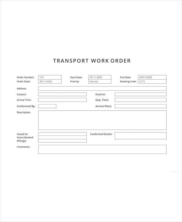 work order excel template