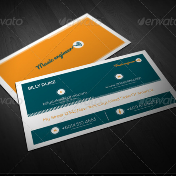 Trendy Music Engineer Business Card Template