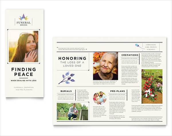 Tri-Fold Funeral Service Brochure Template