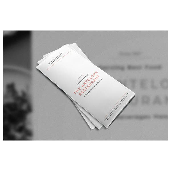 Trifold Brochure Menu