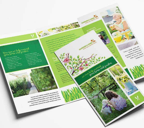 trifold gardening services brochure template