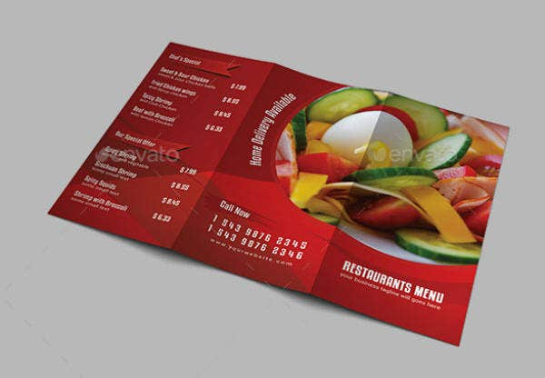 Trifold Restaurant Menu Card Template
