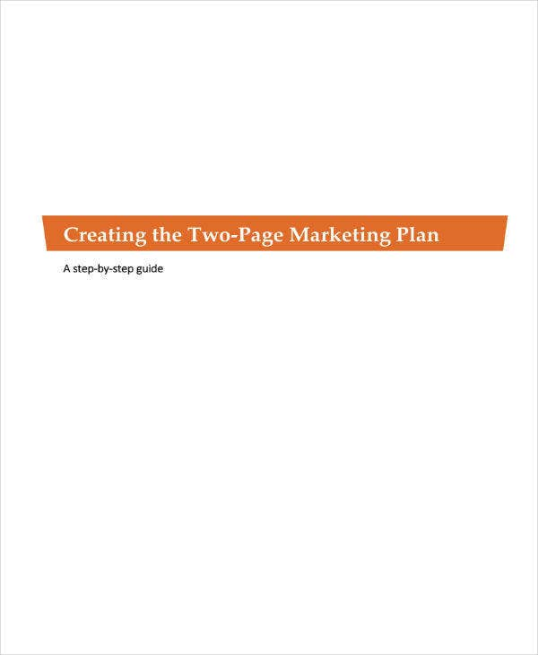 Two-Page Marketing Plan for Nonprofit
