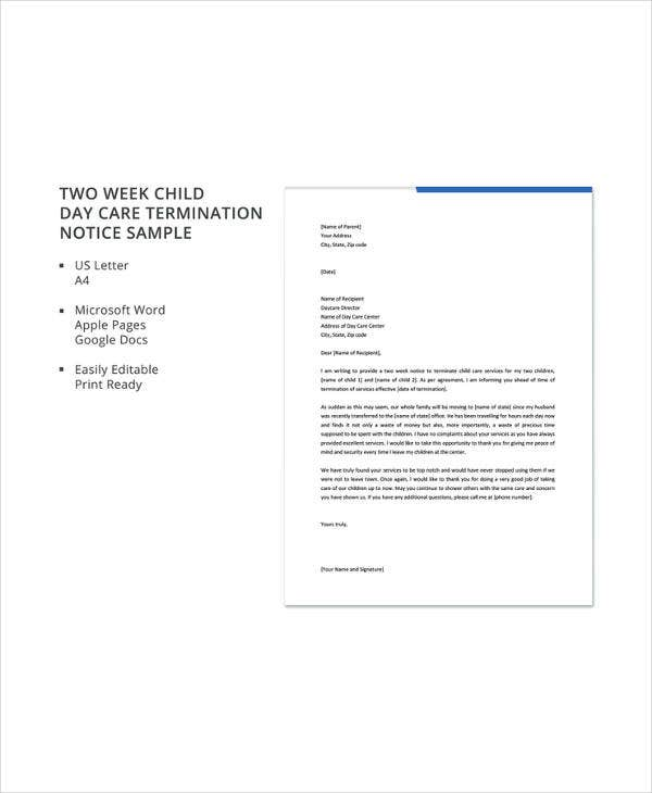 two week child day care termination notice sample