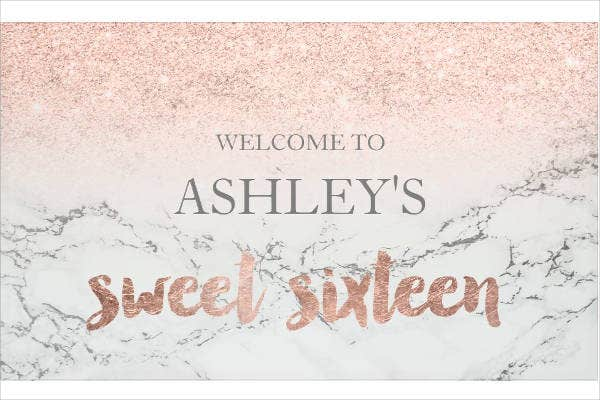 Typography Sweet 16 Party Banner Template
