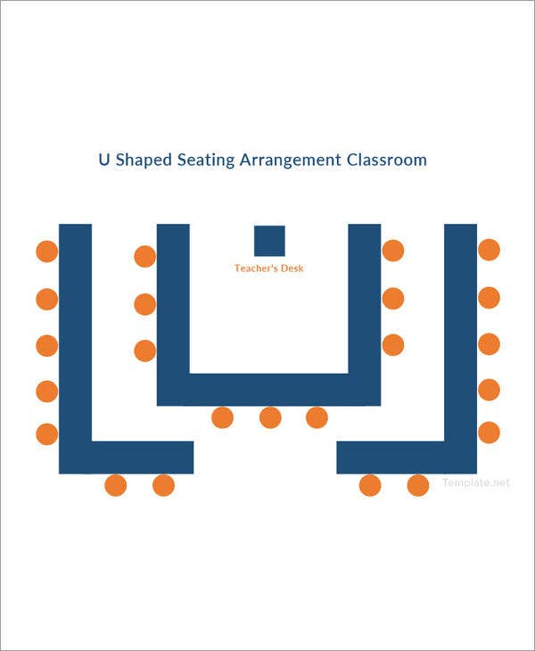 u shaped seating arrangement classroom template