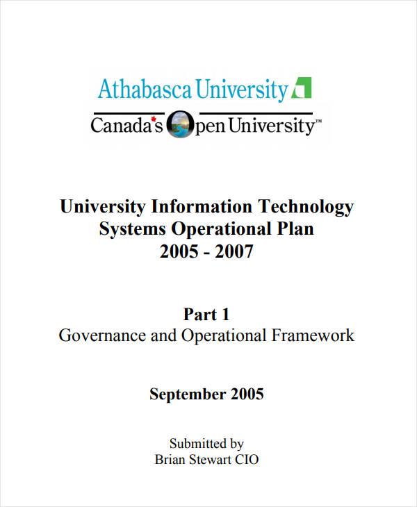 university information technology systems operational plan