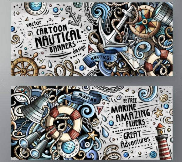 Vector Nautical Banners Design