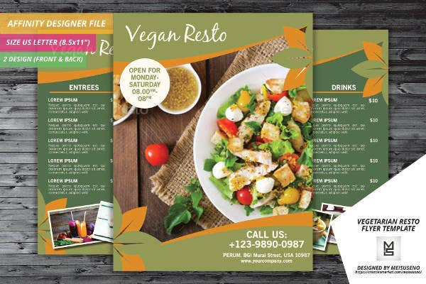 vegetarian resto flyer template