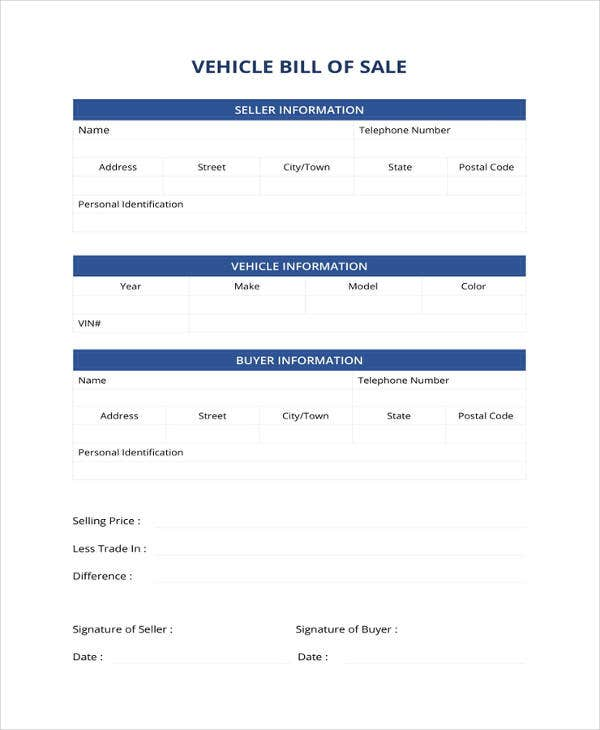 vehicle bill of sale template1
