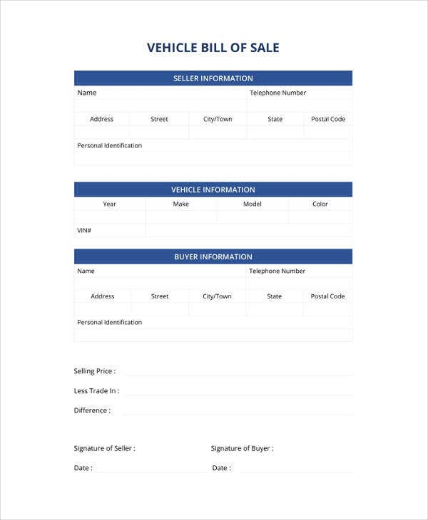 vehicle bill of sale template2