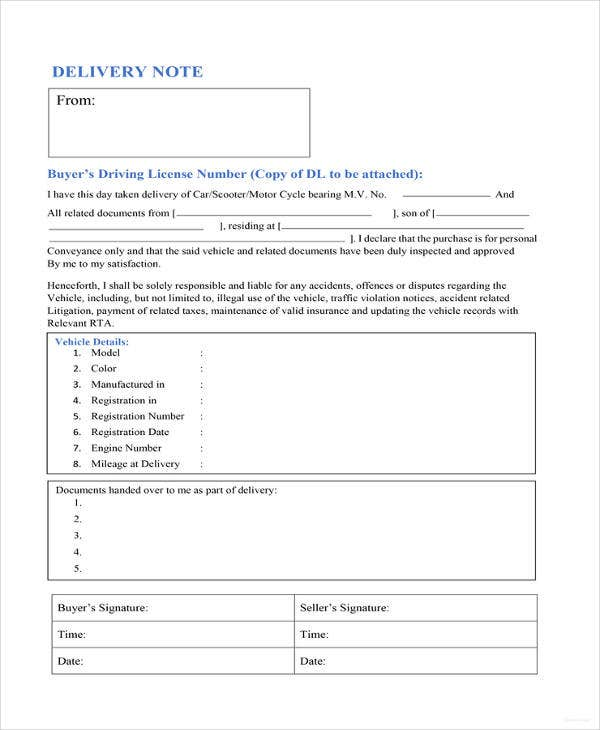 vehicle delivery note template
