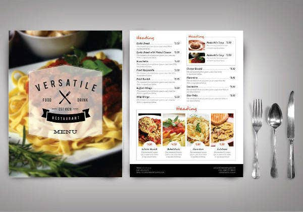 Versatile Restaurant Menu Card Example