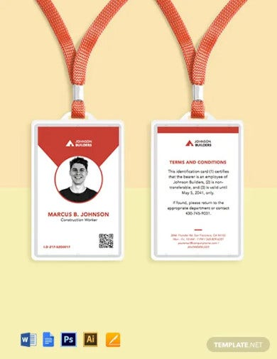 vertical construction id card template