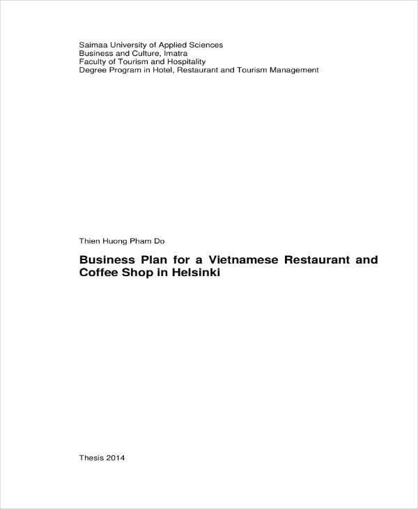 Vietnamese Coffee Shop Business Plan